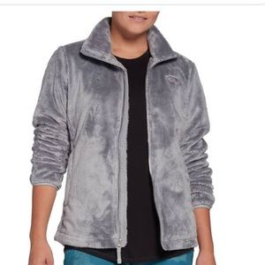 North Face fuzzy grey zip up